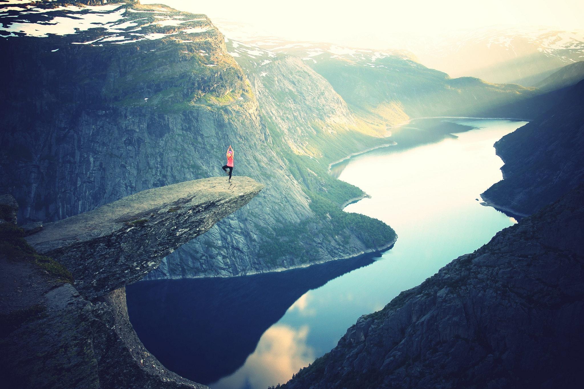 Yoga i vacker miljö